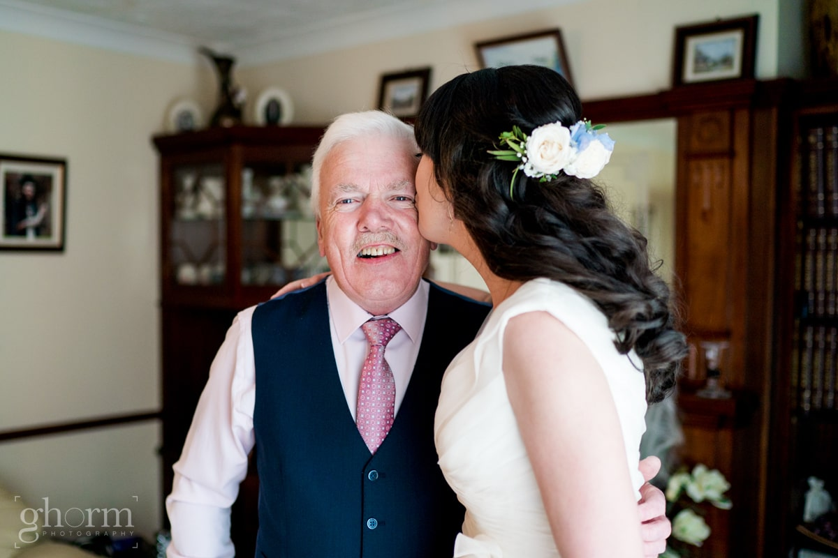 Harveys Point hotel Wedding, Paul McGinty Ghorm Studio Photography, spring wedding, bride seeing her father for the first time