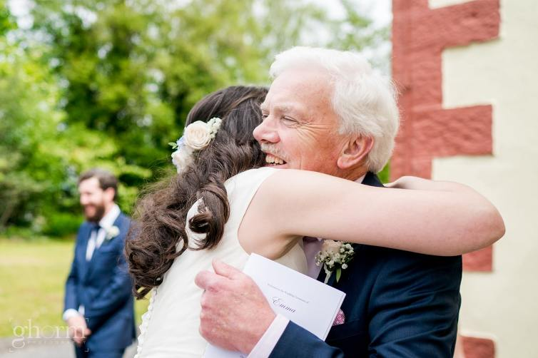 Harveys Point hotel Wedding, Paul McGinty Ghorm Studio Photography, spring wedding, hug from her father