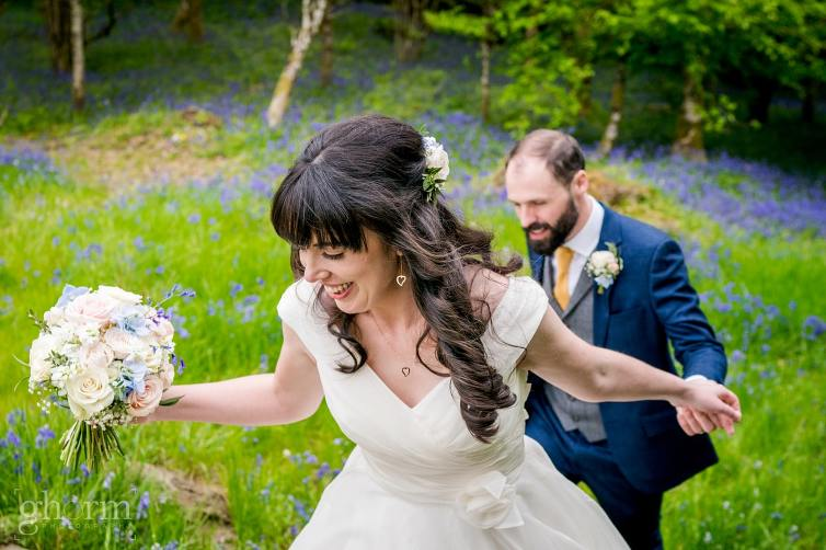 Harveys Point hotel Wedding, Paul McGinty Ghorm Studio Photography, spring wedding, the bride and groom in the blue stack mountains, in a bluebell forest