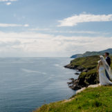 Wedding photographer Donegal, sligo & Leitrim, bride and groom at Muckross head in Donegal on their wedding day. photo by Paul McGinty from Ghorm Studio photography