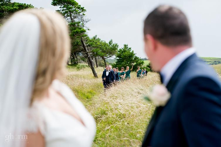 The bridal party arriving, Bride and groom on their wedding day in the Villa Rose hotel Ballybofey, Co Donegal, Ireland. Photo by Paul McGinty from Ghorm Studio Photography