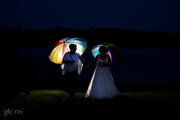 two brides walking along the shore of Lough Eske at sunset with two rainbow umbrellas. same sex female wedding in harvey