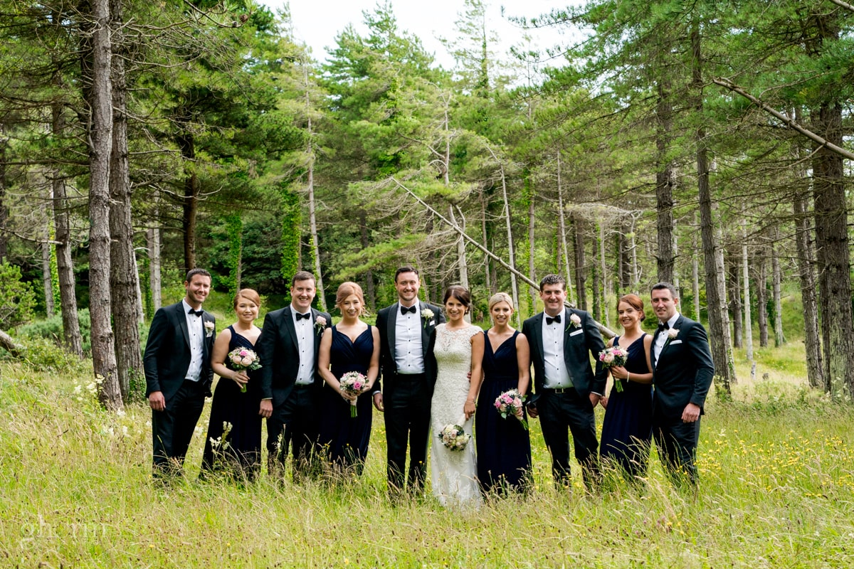 the bridal party in a forest in co donegal, Lough Eske Castle wedding, Photos by Paul McGinty from Ghorm Studio Photography
