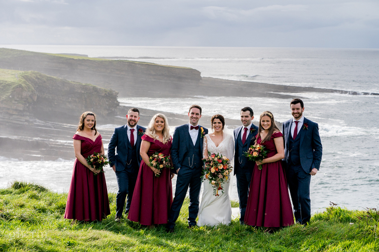 Bridal Party at Mullaghmore in wine dresses, Markree Castle wedding photographer, Photo by Paul McGinty , Ghorm Studio Photography