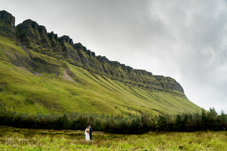 Bride and groom in front of Benbulbin Co Sligo, Markree Castle wedding photographer, Photo by Paul McGinty , Ghorm Studio Photography