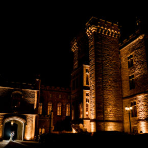 Bride and groom outside the castle at nighttime, Markree Castle wedding photographer, Photo by Paul McGinty , Ghorm Studio Photography,Markree Castle wedding photographer, Photo by Paul McGinty , Ghorm Studio Photography