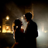 Bride and groom outside and irish castle at night, Lough Eske Castle wedding, Photos by Paul McGinty, Ghorm Studio Photography, covering Donegal, Sligo , Leitrim, Mayo , Fermanagh and the North West of Ireland.