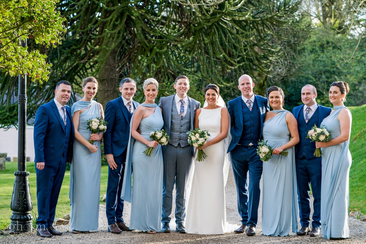 The bridal Party, in blue suits and light blue dresses, Ballybeg House, Photo by Paul McGinty, Ghorm studio photography