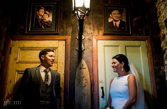 Bride and groom in the skibeen in Ballybegs house co wicklow, Ireland, Photo by Paul McGinty from Ghorm Studio Photography