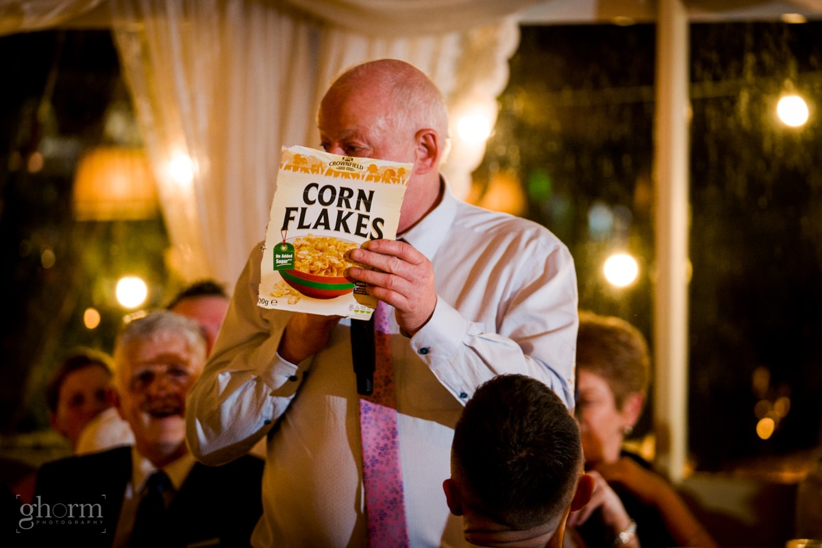 Speeches written on a cornflakes box, Photo by Paul McGinty from Ghorm Studio Photography