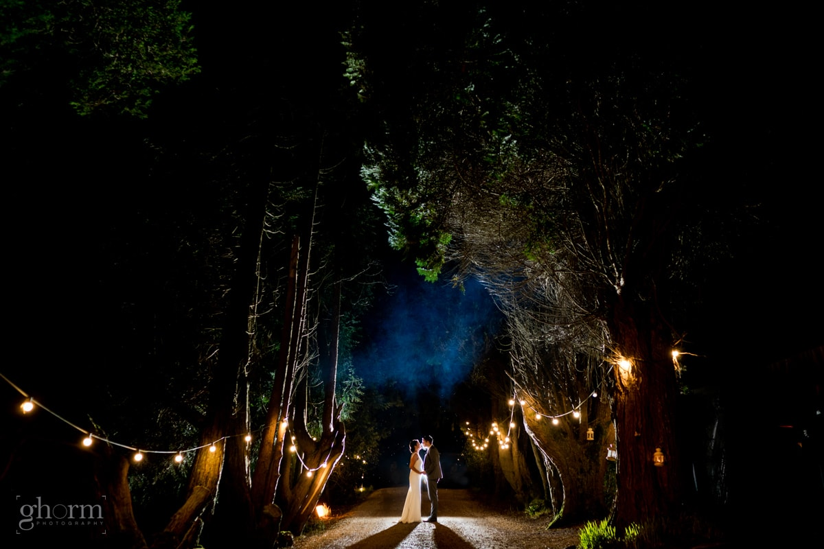 bride and groom having a kiss in the avenue in Ballybeg House co wicklow at night. Photo by Paul McGinty from Ghorm Studio Photography