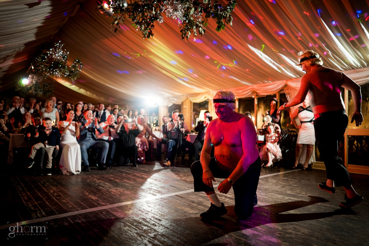 brides father and brother from Cyprus preforming Have Stavros Flatley in front of the guests