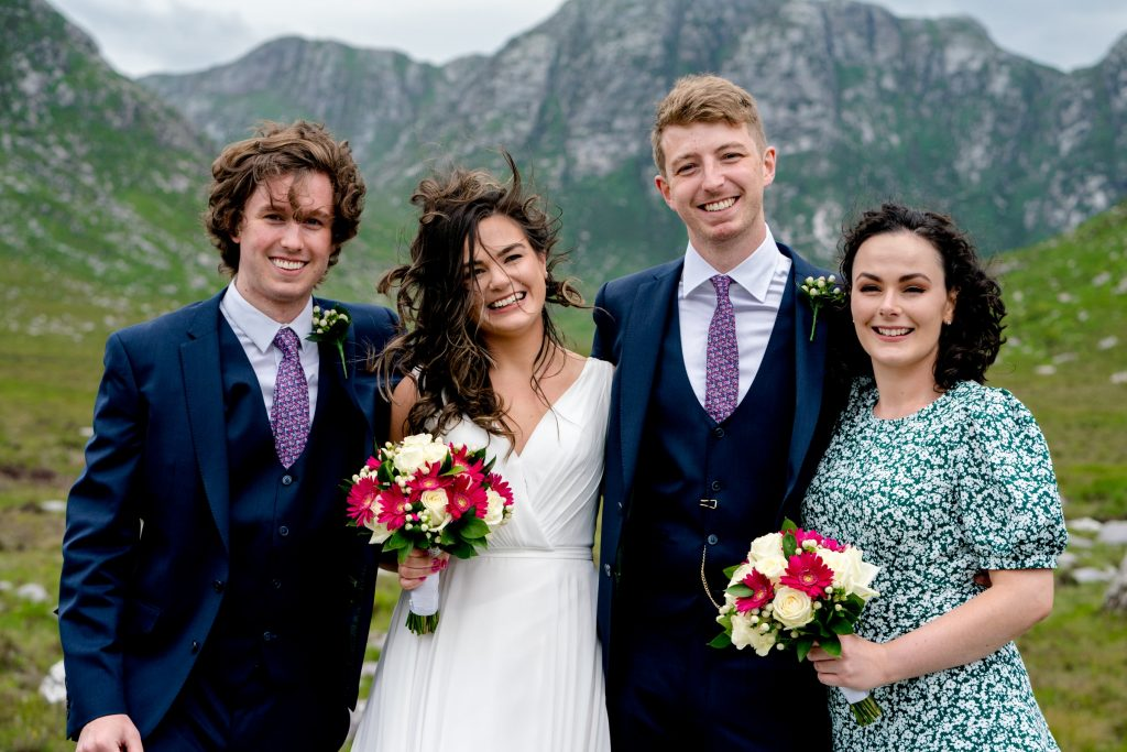 The bridal party in the Poisoned Glen, Co Donegal. Photography by Paul McGinty, Ghorm Studio Photography