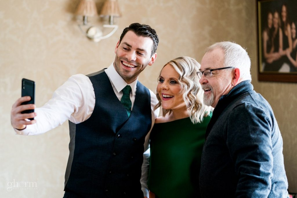 wedding selfie, bride and groom in donegal best wedding venue, harvey's point hotel on the shore of Lough Eske, Ghorm Studio Photography, donegal, sligo and leitrim wedding photographer
