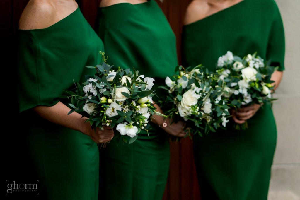 the bridesmaids dress and flowers, bride and groom in donegal best wedding venue, harvey's point hotel on the shore of Lough Eske, Ghorm Studio Photography, donegal, sligo and leitrim wedding photographer