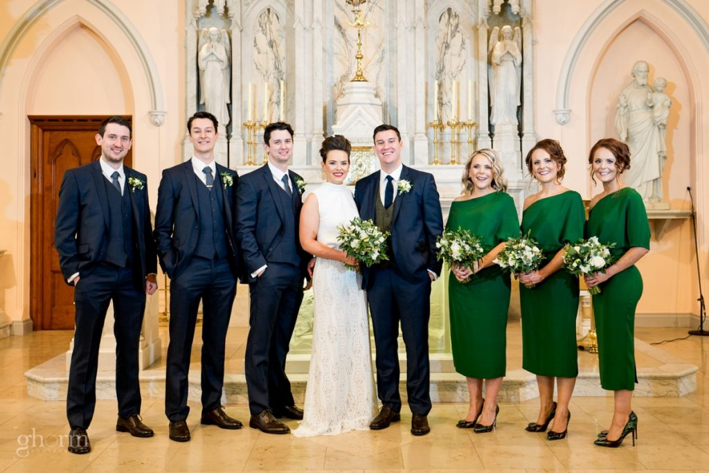 the bridal party, bride and groom in donegal best wedding venue, harvey's point hotel on the shore of Lough Eske, Ghorm Studio Photography, donegal, sligo and leitrim wedding photographer