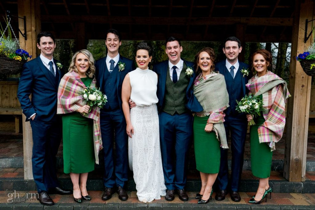 bridal party, bride and groom in donegal best wedding venue, harvey's point hotel on the shore of Lough Eske, Ghorm Studio Photography, donegal, sligo and leitrim wedding photographer