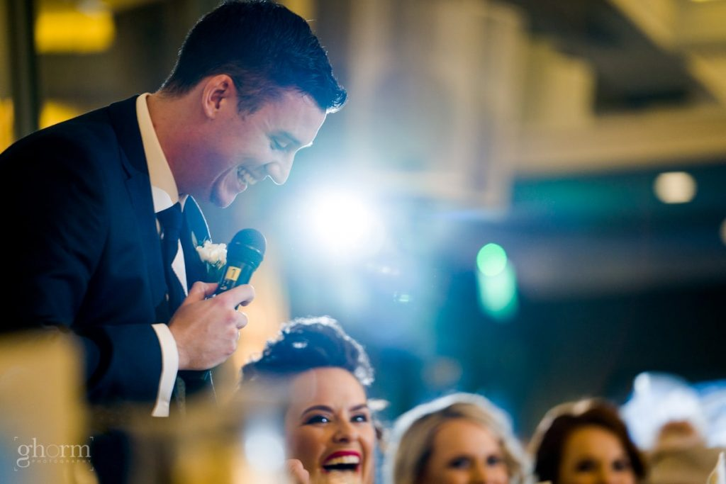 the grooms speech, bride and groom in donegal best wedding venue, harvey's point hotel on the shore of Lough Eske, Ghorm Studio Photography, donegal, sligo and leitrim wedding photographer