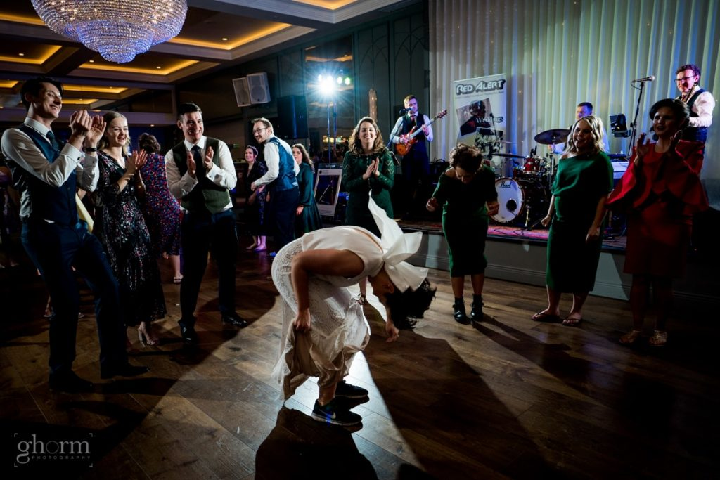 the bide, dancing at a wedding in harvey's point, bride and groom in donegal best wedding venue, harvey's point hotel on the shore of Lough Eske, Ghorm Studio Photography, donegal, sligo and leitrim wedding photographer