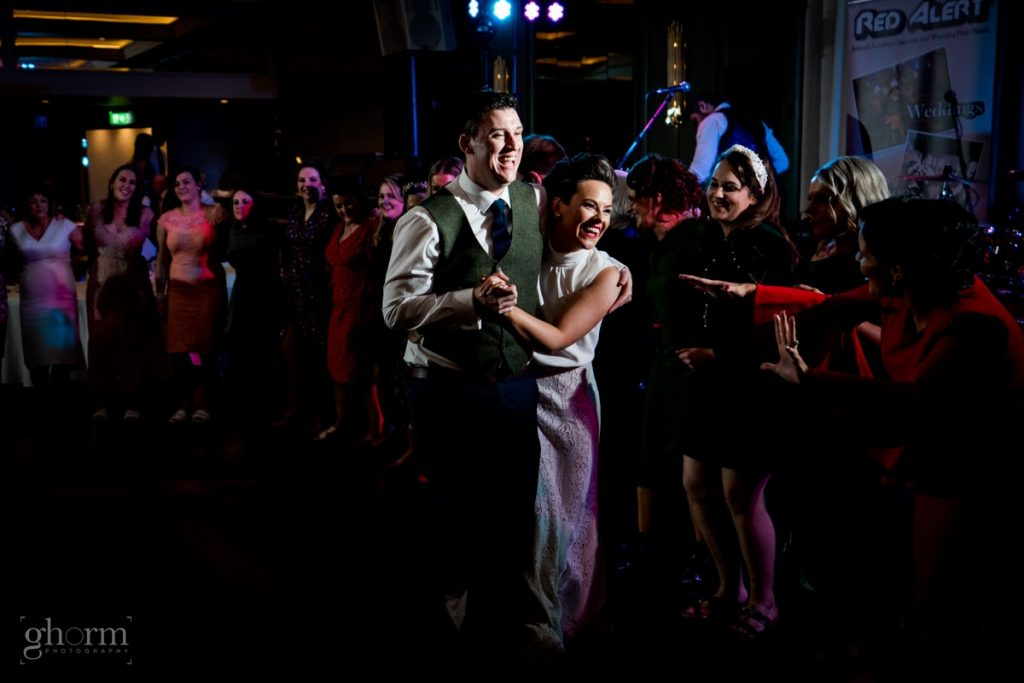 the last dance, dancing at a wedding in harvey's point, bride and groom in donegal best wedding venue, harvey's point hotel on the shore of Lough Eske, Ghorm Studio Photography, donegal, sligo and leitrim wedding photographer