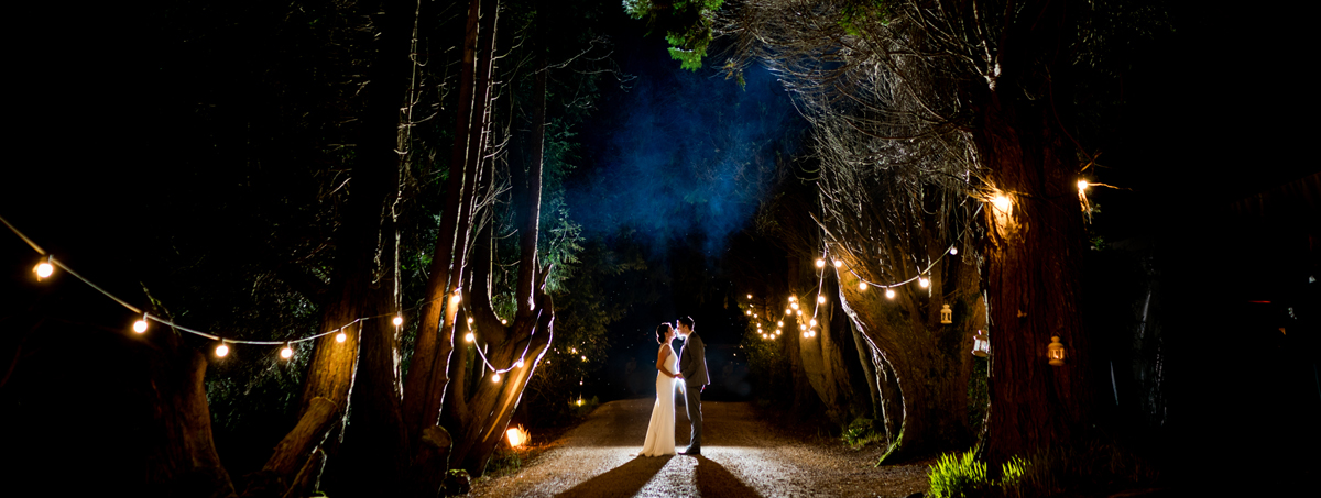 Bride and groom outside Ballybeg House, Co Wicklow for a nighttime photo session