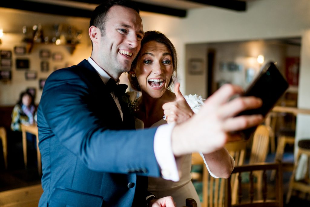 wedding selfie, Lough Eske castle wedding, Autumn 2019, best wedding venue, photo by Paul McGinty from Ghorm studio photography, Donegal Town, Ireland