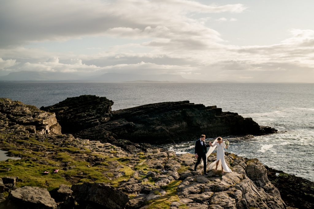 walking on the cliffs at sliabh league, Lough Eske castle wedding, Autumn 2019, best wedding venue, photo by Paul McGinty from Ghorm studio photography, Donegal Town, Ireland