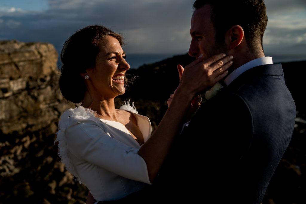 a kiss, Lough Eske castle wedding, Autumn 2019, best wedding venue, photo by Paul McGinty from Ghorm studio photography, Donegal Town, Ireland