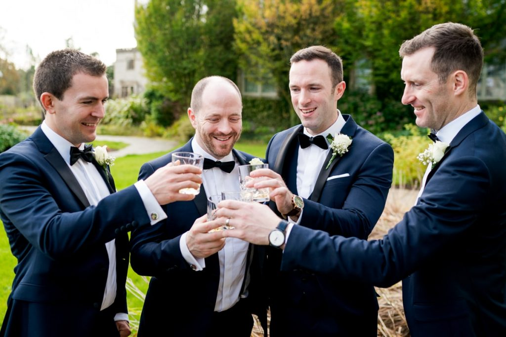 groomsmen having a drink, Lough Eske castle wedding, Autumn 2019, best wedding venue, photo by Paul McGinty from Ghorm studio photography, Donegal Town, Ireland