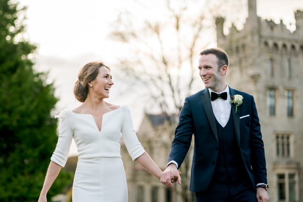 bride and groom Lough Eske castle wedding, Autumn 2019, best wedding venue, photo by Paul McGinty from Ghorm studio photography, Donegal Town, Ireland