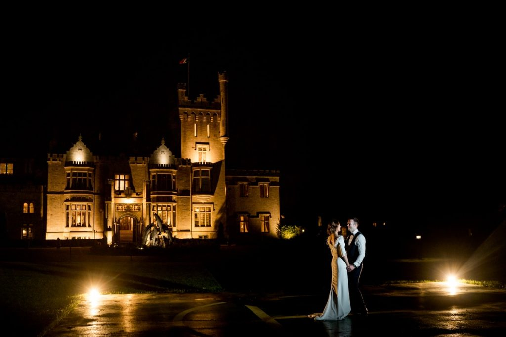 bride and groom night photos, Lough Eske castle wedding, Autumn 2019, best wedding venue, photo by Paul McGinty from Ghorm studio photography, Donegal Town, Ireland