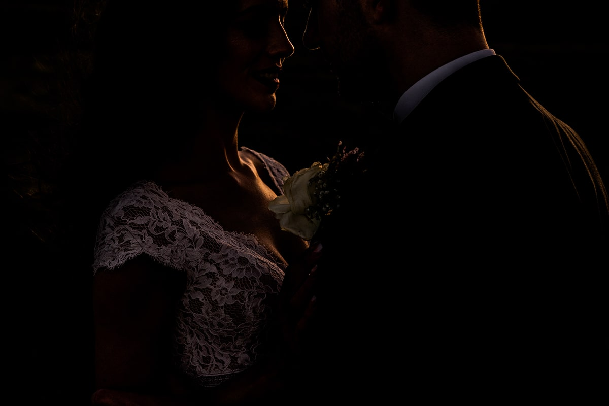 sunset light on the brides wedding dress, Irish castle wedding, Lough Eske wedding, Paul McGinty, Ghorm Studio Photography