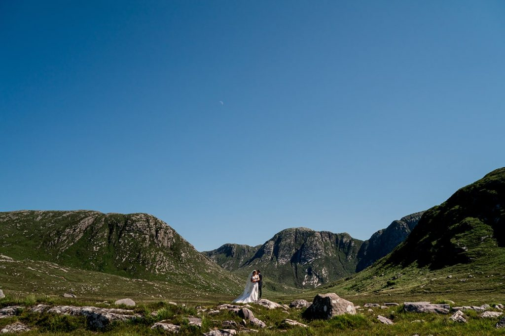 bride and groom in the Poisoned Glen, Marquee wedding in Annagry, Co Donegal Ireland, Photo by Paul McGinty, Ghorm Studio Photography.
