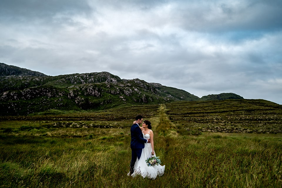 Harveys Point hotel, Donegal Wedding Photographer, bride and groom in the donegal mountains. Harvey's Point Hotel Lough Eske Wedding, Paul McGinty, Ghorm Studio Photography