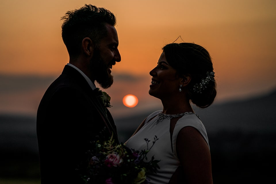 bride and groom in the wild Atlantic way at sunset, Mill Park Hotel wedding Donegal Town, Paul McGinty, Ghorm Studio Photography